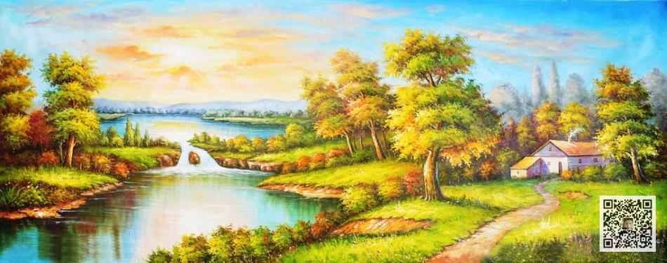 方案三:油画风景类 油画风景是现代家居装饰的首选,大树,小房子,溪流
